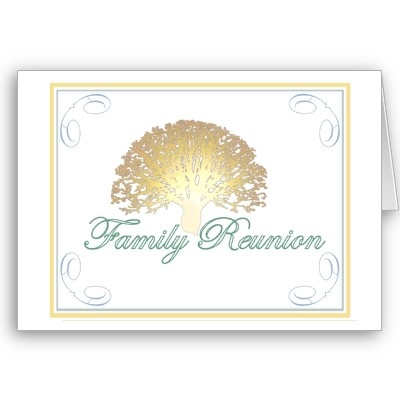"Elegant Family Reunion Invitation featuring the designers signature ""Glowing Tree."""