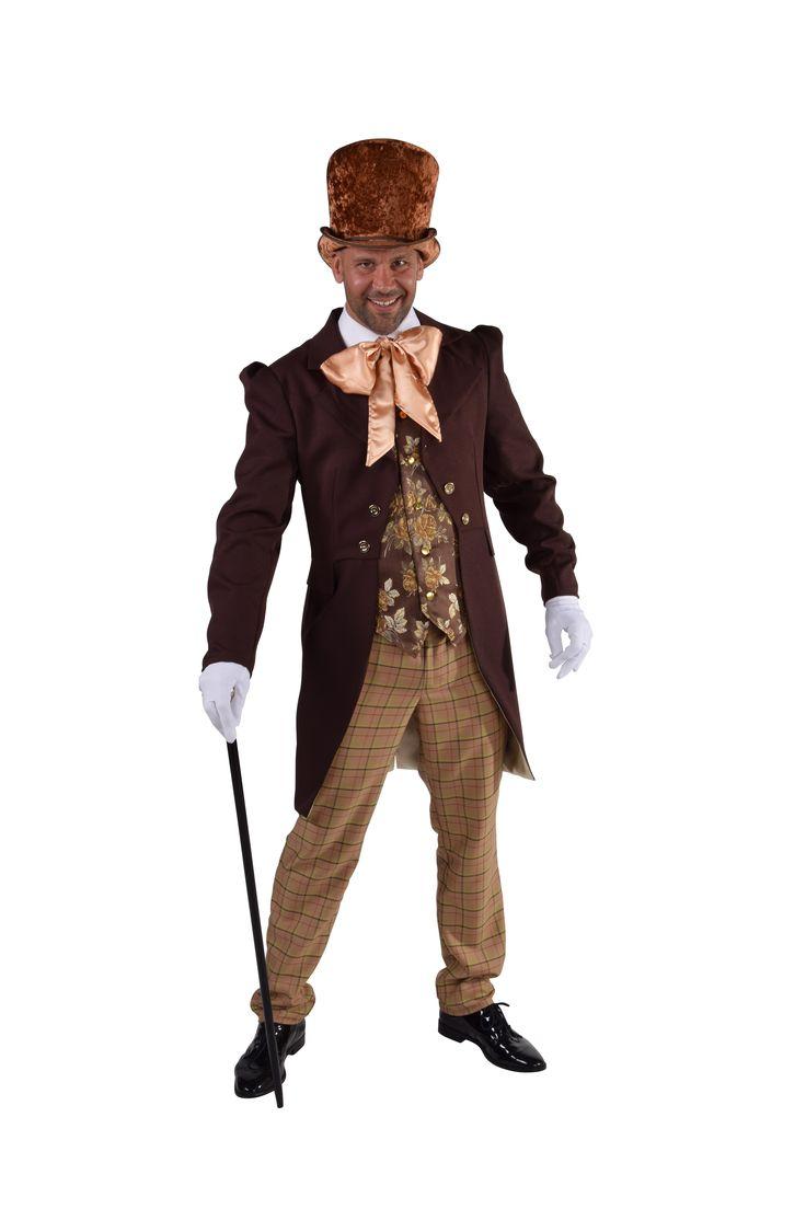 Het Steampunk Victoriaanse Heer in Dickens stijl bestaat uit: gilet met bloemenprint, jas en strik uit 1 geheel...
