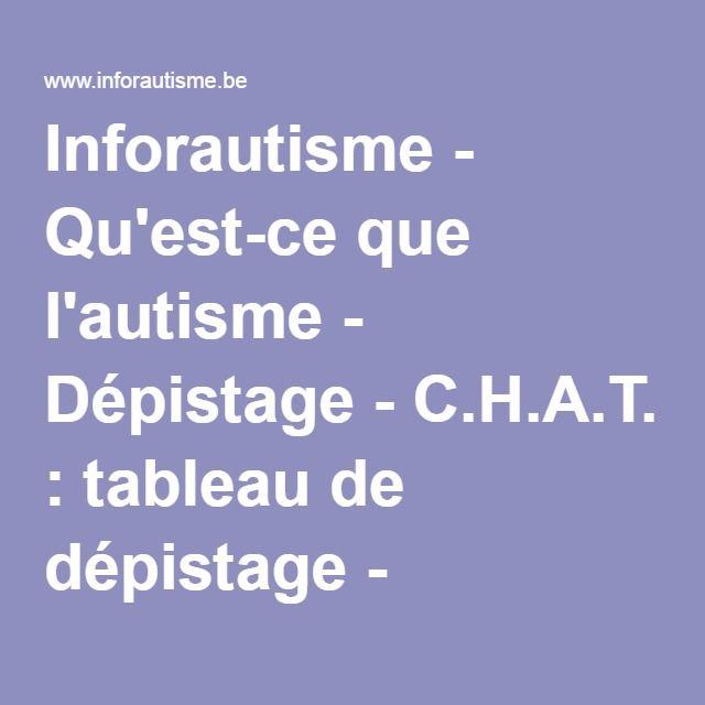 Inforautisme - Qu'est-ce que l'autisme - Dépistage - C.H.A.T. : tableau de dépistage - Questionnaire pour les parents