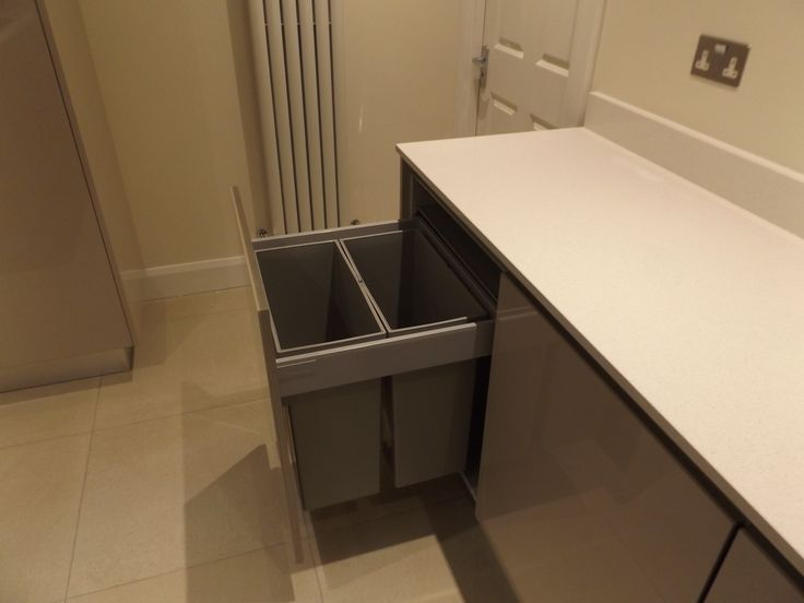 Integrated bins in a Gola handleless kitchen...Newhaven Kitchens, Carlow