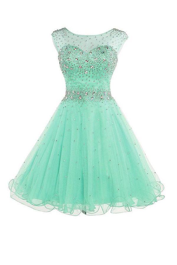 cheap Mint Short Tulle Beading Homecoming Dress Graduation