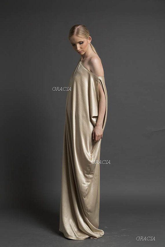 Maxi dress, Prom dress, Bridesmaid dress, The gold dress convertible maxi dress with cloth-belt and hidden side-clips.