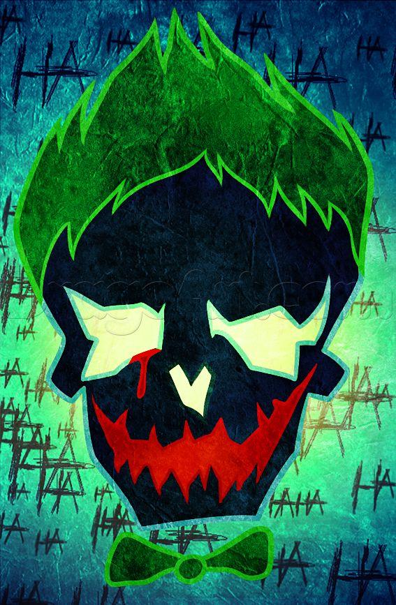 draw suicide squad joker skull