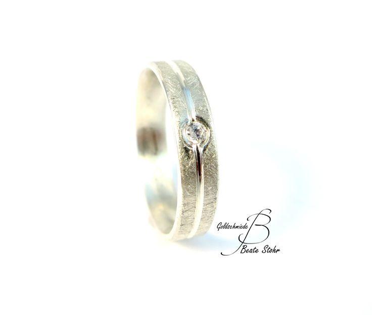 Verlobungsring Silber Diamant