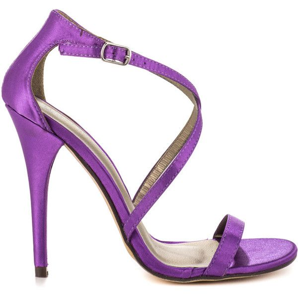Michael Antonio Women's Janette - Violet Satin (5345 RSD) found on Polyvore featuring shoes, sandals, heels, purple, evening sandals, strappy sandals, high heels stilettos, purple satin shoes and ankle strap stilettos