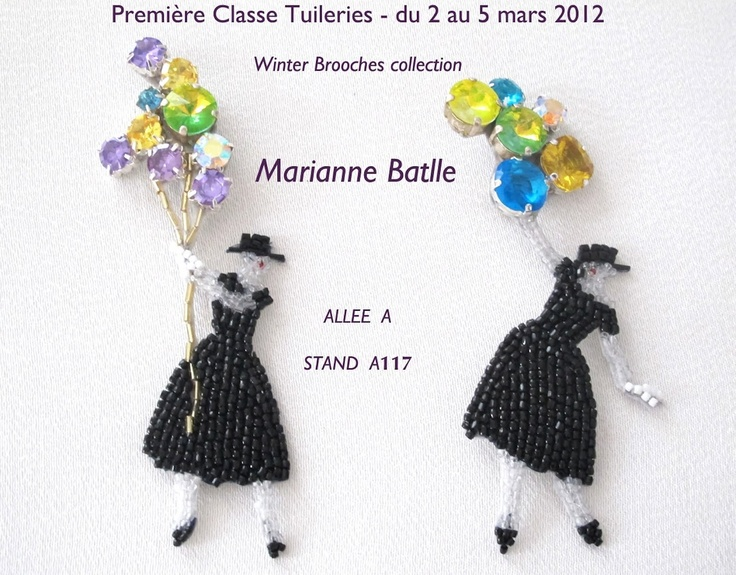 Exhibition card by French bead-embroiderer Marianne Batlle