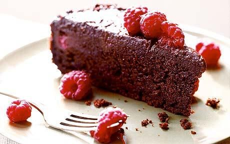 Bill Granger's fast supper recipes: Gooey chocolate cake with raspberries