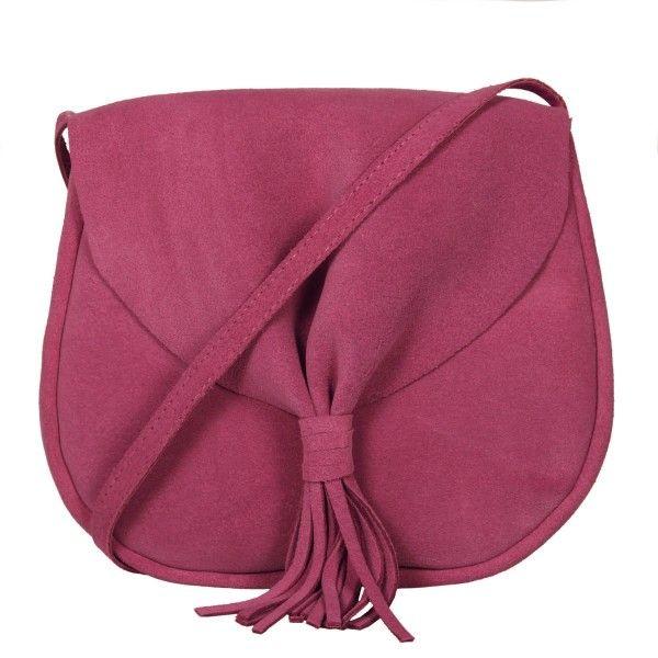 Bolsa de couro camurça Boho rosa