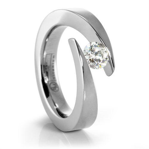 JOLIE Ladies Titanium Diamond Engagement Ring designed by #EdwardMirell #TitaniumJewelry