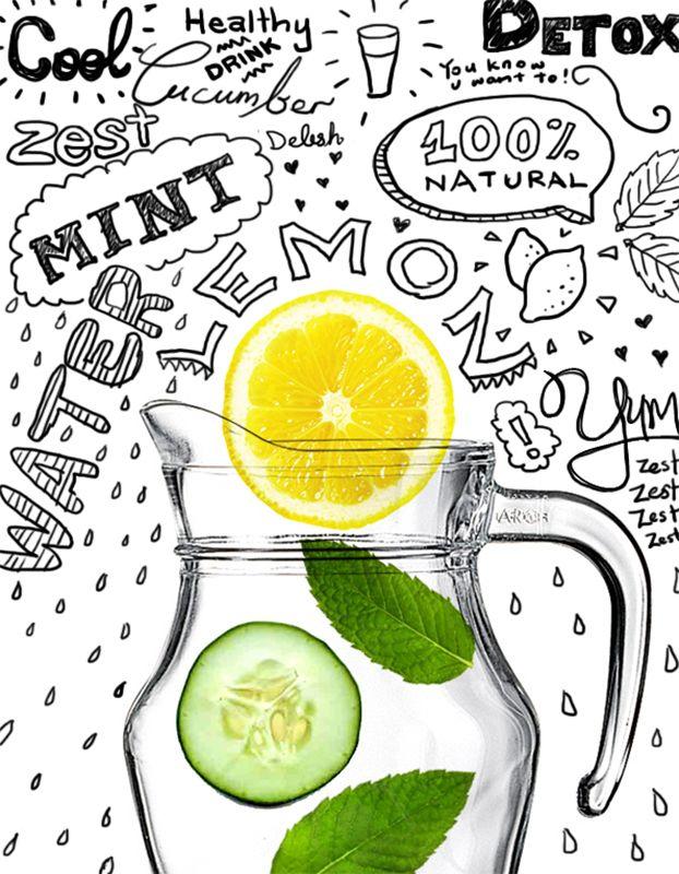 Detox Water Pour un litre de boisson : 1 citron, 1/2 concombre, 10 feuilles de menthe, 1 litre d'eau Lavez les fruits et légumes puis découpez les en rondelles – Remplir une carafe d'un litre d'eau de source, rajoutez le citron et le concombre émincés, les feuilles de menthe et laisser poser au réfrigérateur pendant toute une nuit.Buvez cette boisson en vous levant, avant la douche ! Emporter le reste de la boisson dans une bouteille et en boire 3 à 4 verres dans la journée.