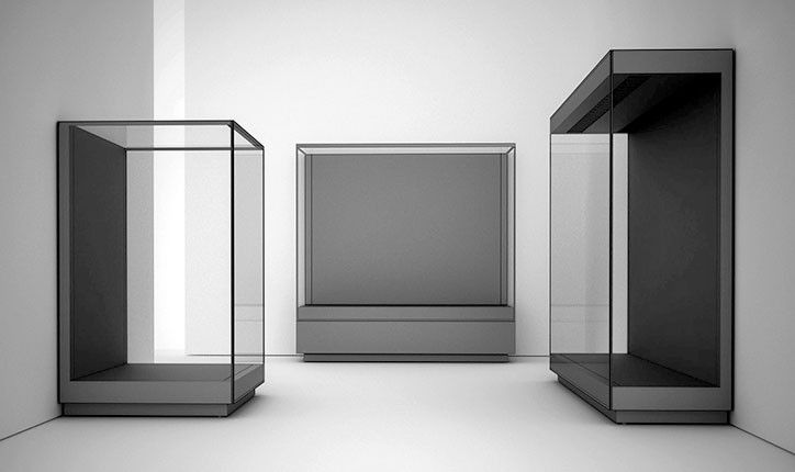 Wall Unit Display Cases for Museums with Door Opening