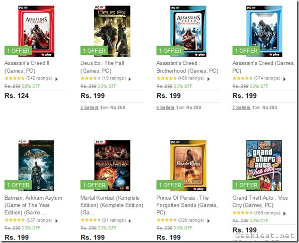 Get 33% Discount on Batman Arkham Asylum GOTY, Assassin's Creed Series, GTA Vice City and more games under Rs. 299 from Flipkart