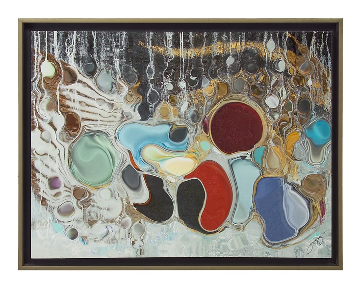 """The abstract, mixed media work of Jason Lincoln Jeffers is marked by an ethereal quality as seen in the giclee of """"Prana Shakti"""". This piece is embellished by adding a broken aqueous finish and is presented in a silver metallic floater frame."""