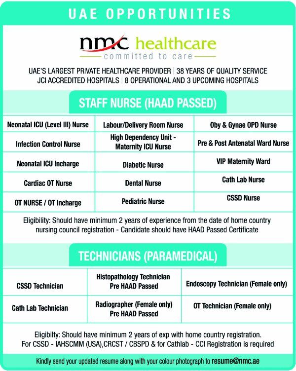 Pin This Vacancy of STAFF NURSES AND TECHNICIANS (ALL DEPTS) IN NMC HOSPITALS, UAE. Visit http://wp.me/p3qrKC-4YQ for More Vacancies info