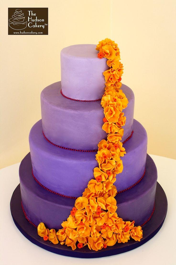 Cake Wedding, Ombre Cake, Wedding Cake, Ruffles Cake, Purple Cake