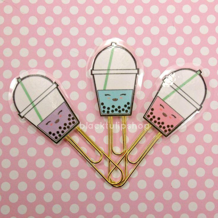 1 Cute Planner Clip Bubble Tea Paper Clip Pearl Boba Milk Pastel Pink Blue Lavender Kawaii Bookmark Page Marker - You Choose by blacktulipshop on Etsy