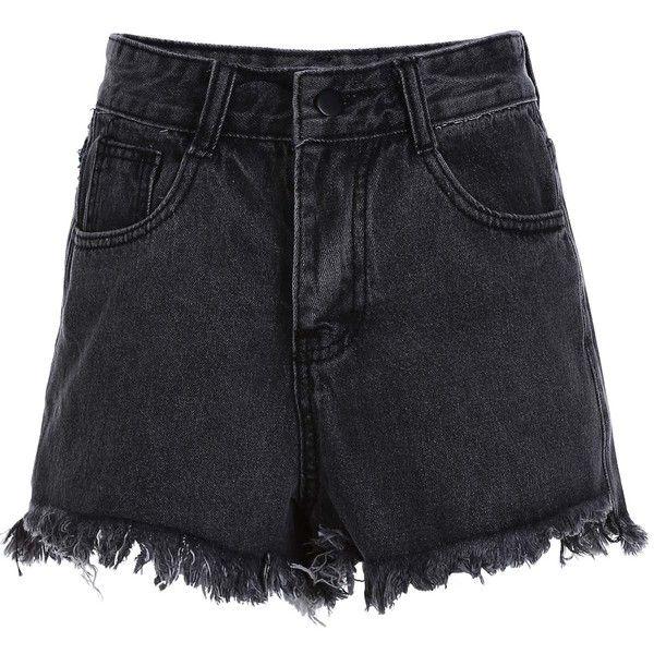 Stylish High Waist Denim Black Women's Shorts ($21) ❤ liked on Polyvore featuring shorts, zaful, highwaist shorts, high-waisted denim shorts, high-waisted shorts, high waisted denim shorts and denim shorts
