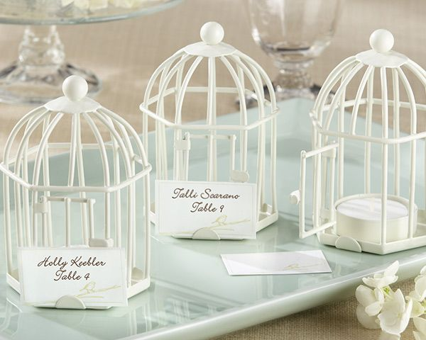 white birdcage place card holders
