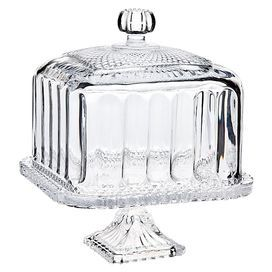 """Footed cake plate with a cut design and complementing cloche. Product: Cake plate and clocheConstruction Material: CrystalColor: ClearDimensions: 14"""" H x 7.7"""" W x 7.7"""" D (overall)"""