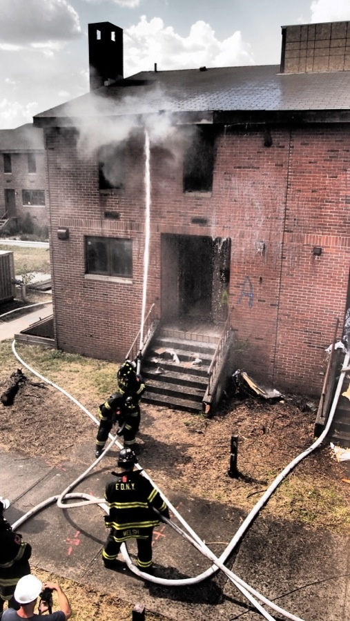 FDNY safely extinguishes one of the fire tests during a research project with UL. www.ul.com