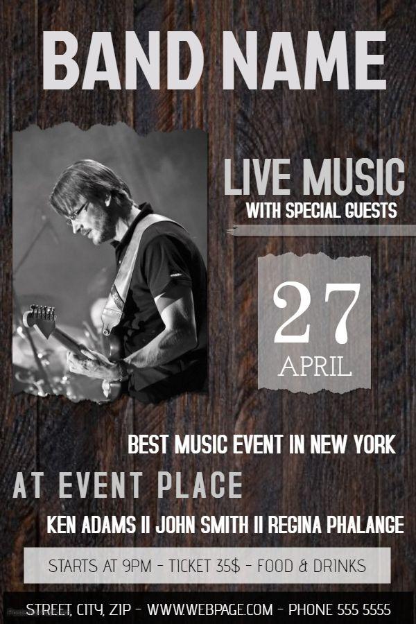 wood band concert poster flyer social media post template