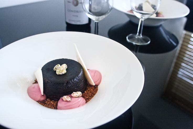 Molten Chocolate Cake, Cocoa Soil, Crystallised Pistachios & Cherry Chantilly #frenchfood #dessert #chocolate #recipe