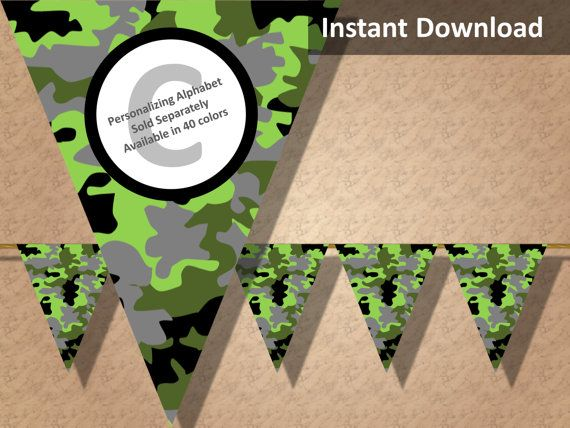 Green camo party banner! Perfect for a hunting, military, camping or lazer tag party! Find more printable camouflage party decorations at CameoPartyDesigns.etsy.com #camoparty #camouflageparty #partydecorations