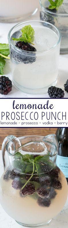 Lemonade Prosecco Punch - just 4 ingredients!!