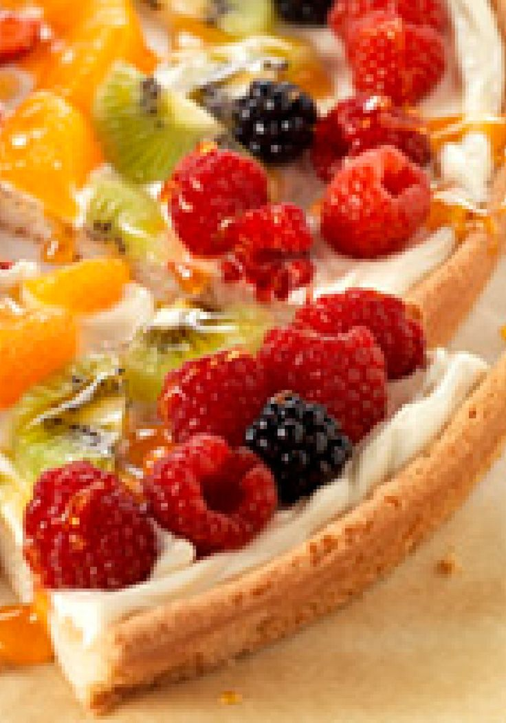 PHILADELPHIA Fruit Pizza – From a morning playdate to cocktail hour, this sweet fruit pizza with a cookie dough crust and cream cheese center is always the right thing to serve.