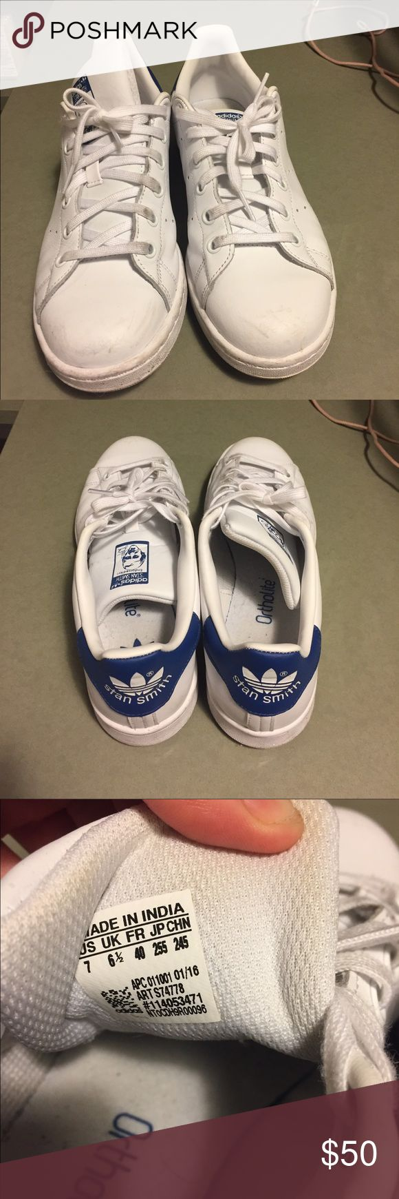 Adidas Stan Smiths (blue) Slightly worn but real clean, still. Just don't really wear them much anymore. Men's 7/ women's 8.5, fits a women's 9 adidas Shoes Sneakers