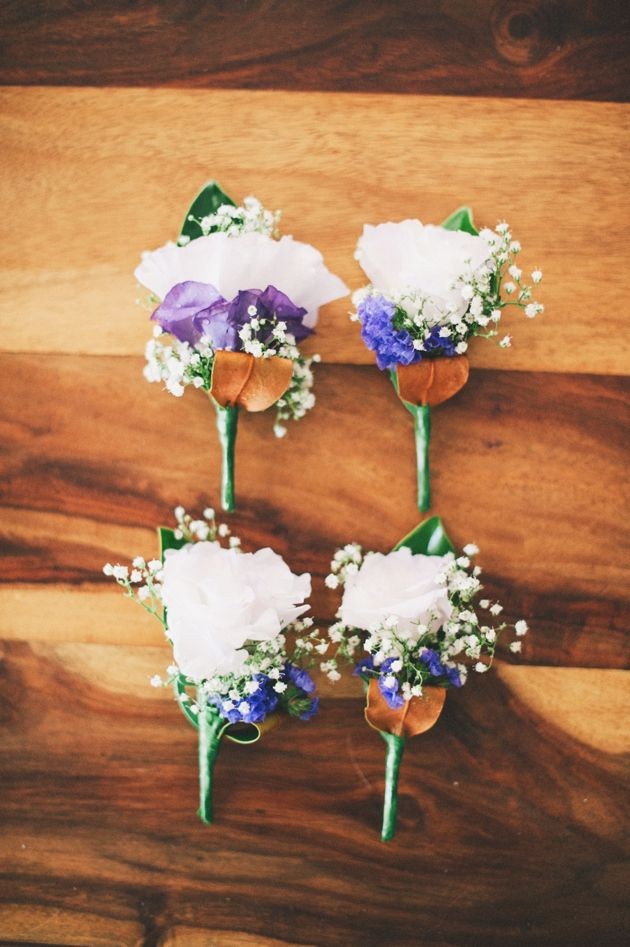 blue and purple boutonnieres // photo by Ben Yew // boutonnieres by Fleurs of Bunbury // view more: http://ruffledblog.com/rustic-western-australia-wedding