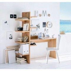 bureau avec etagère et rangement optimisation espace pour travail ordinateur et…