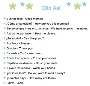 A printable list of 61 common Spanish phrases to use with kids. A handy reference for parents trying to use the language at home. http://www.spanishplayground.net/61-common-spanish-phrases-kids-printable-list/
