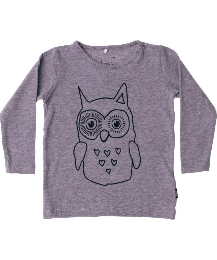 Name It coole grijze t-shirt met uilen print. name-it.nl.emilea.be