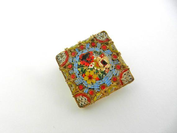 Italian Grand Tour Floral micro mosaic cushion by RAKcreations