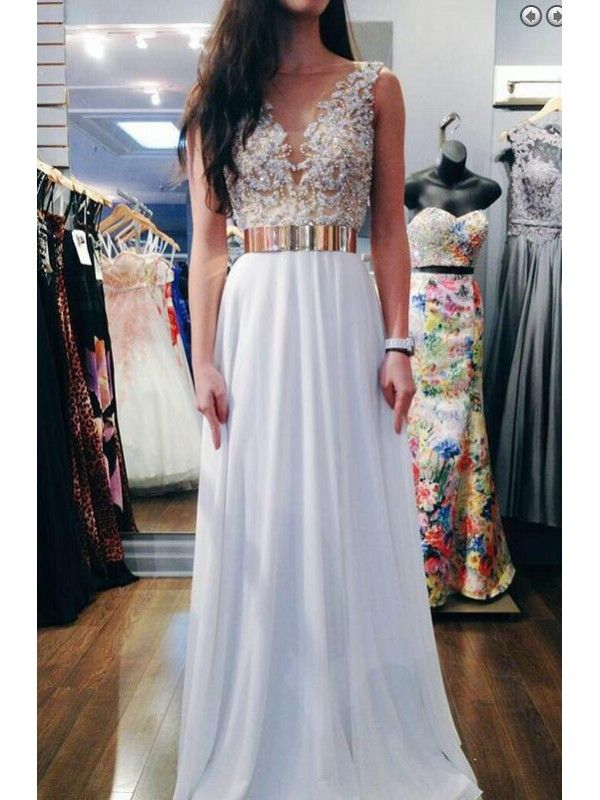 A LINE V BACK GOLDEN RIBBON LONG CHIFFON PROM DRESS WITH BEADING