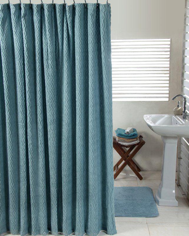 Waves Cotton 2 Piece Shower Curtain Set Blue Shower Curtains