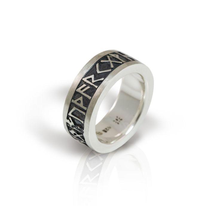 Chunky Rune Band – Solid Silver with Oxidized Relief Suitable for both men and women, this chunky solid silver Rune Band is a perennial favorite. This Celtic design is highlighted with an oxidixed – or blackened silver – treatment which makes the runic letters stand out.