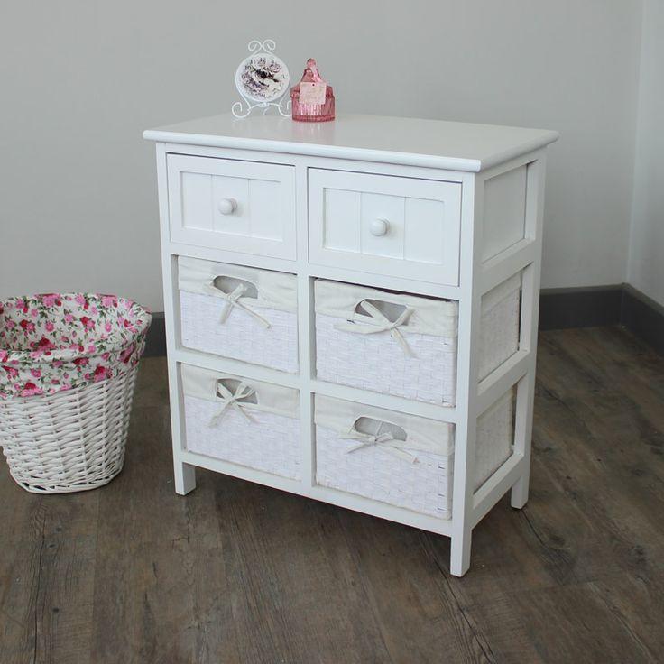 Grey Cottage Woven Storage Bins: White Storage Unit - 4 Baskets/2 Drawers