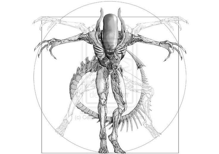 Giger's alien in the form of Vitruvian Man by Leonardo da Vinci. Amazing tattoo design © Cele-1-20