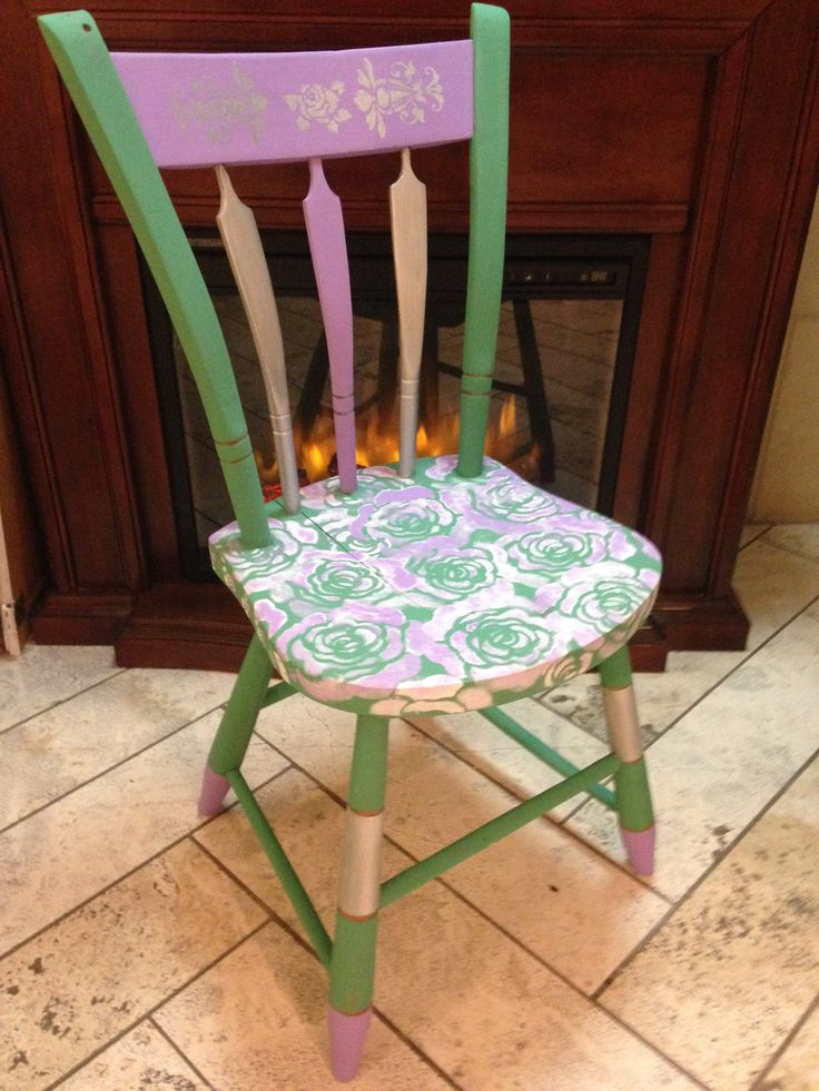 Farmhouse Chic chair No. 4 - the Rose Glam chair, recreated at Behind The Purple Door with van gogh fossil paints.  www.behindthepurpledoor.biz.