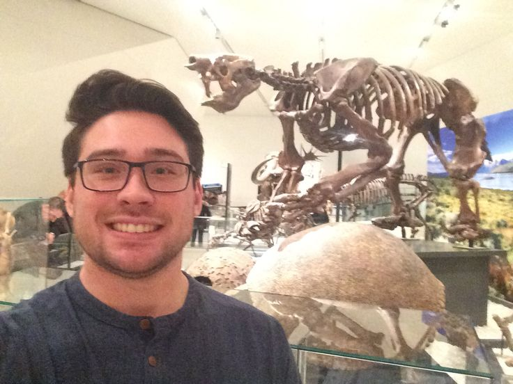 At the ROM with my favourite 100,000 year old Eremotherium laurillardi (Giant ground sloth). This type of sloth from the Late Pleistocene would have weighed 4-5 tonnes! It was found in Daytona Beach, Florida. This one is just a cast replica. - Sasha, Heritage Conservation and Restoration Team