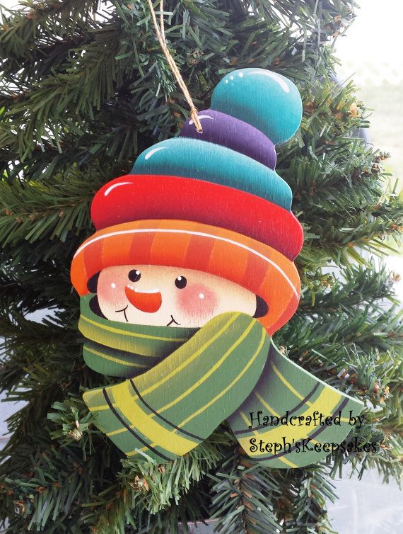 Wooden Hand Painted Snowman Christmas Ornament by stephskeepsakes