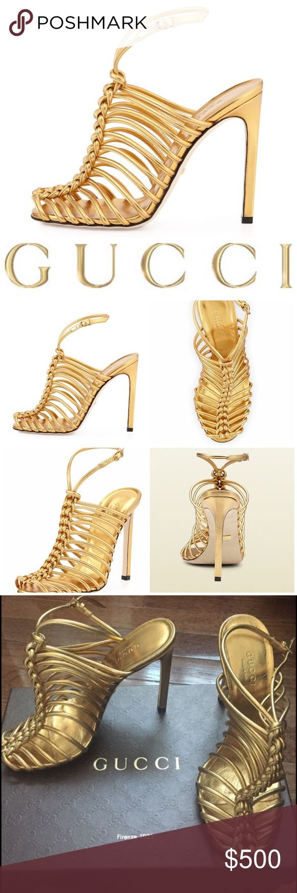 """Gucci: Strappy Knotted Gold Metallic Sandal Pumps Gucci Angelique. Metallic napa leather Gucci sandal heels in gold. Lace up. Knots.  4 3/4"""" covered straight heel. Peep toe; knotted cage vamp. Adjustable ankle strap. Leather footbed and sole. Made in Italy. As seen on Nicki Manaj and Stevie J's Jocelyn Hernandez. Come in original box with original dust bag. Size 6 (true to size). Retail $795. Brisette #611 Gucci Shoes Heels"""