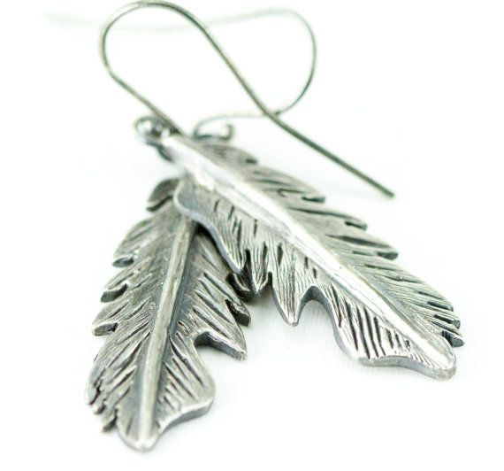 Sterling Feather Earrings  Silver Feather Dangles  Boho by PPennee