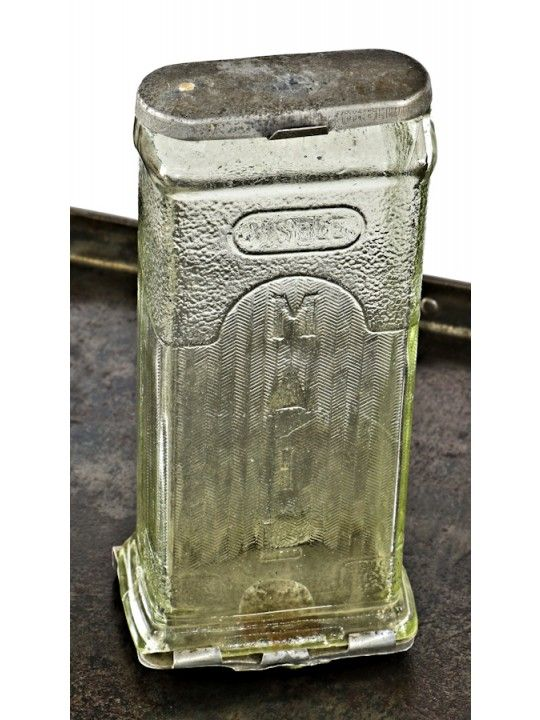 """all original sought after c. 1920's antique american transparent glass wall-mount lockable """"visible"""" residential mailbox with aluminum fittings"""