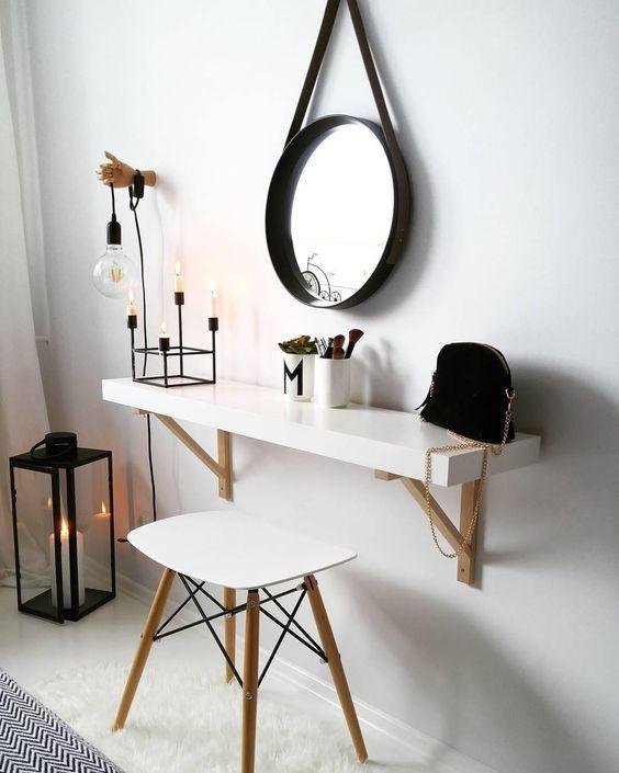 elegant zeitlos absolut im trend schminktisch spiegel skandinavisch hocker kerzen leuchte becher schwarz weiss ideen schlafzimmer - Schlafzimmer Modern Schwarz Wei