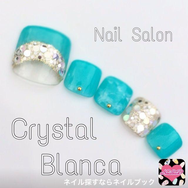 ネイル 画像 Crystal Blanca 菊名 535890 緑 変形フレンチ ソフトジェル フット
