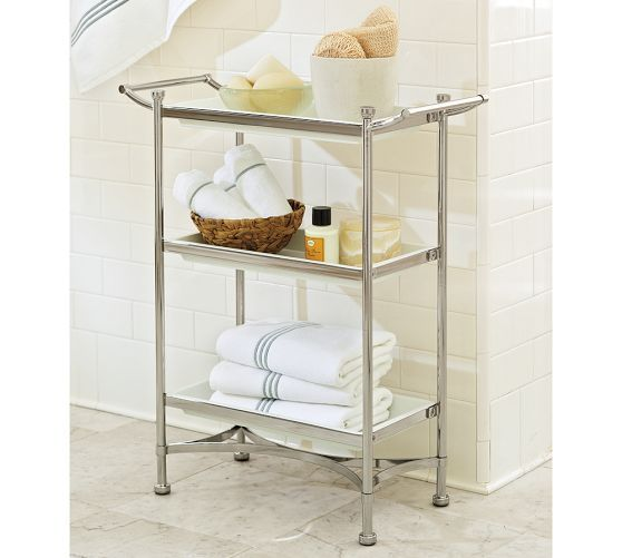 Grant Floor Storage Polished Nickel Finish Pottery Barn