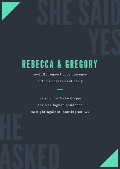 Minimal Engagement Party Invitation